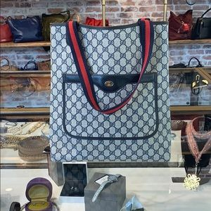 Gucci navy blue stripe north south tote large